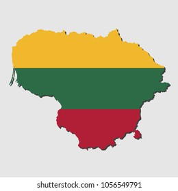 Map Of Lithuanian With Flag, Vector Illustration