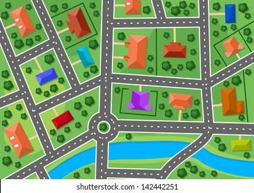 Map of little town or suburb village for real estate design. Jpeg version also available in gallery