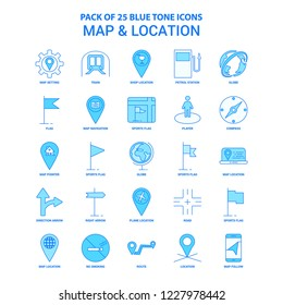 Map and Location Blue Tone Icon Pack - 25 Icon Sets