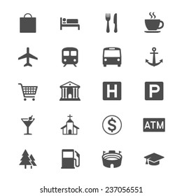 Map and location flat icons