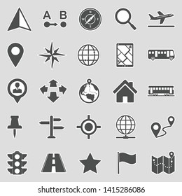 Map And Location Icons. Sticker Design. Vector Illustration.