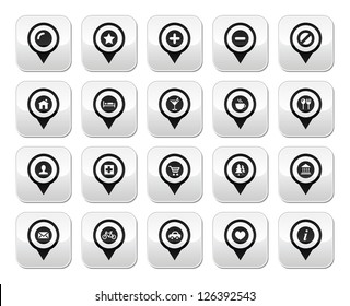 Map location markers, pointers vector buttons set