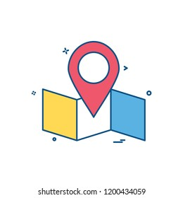 map location navigation icon vector desige
