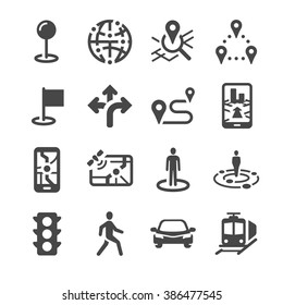 Map Location and navigation icons. Included the icons as navigator, direction, transport, location, mobile app, local road and more.