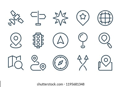 Map location and navigation line icons. Vector linear icon set.