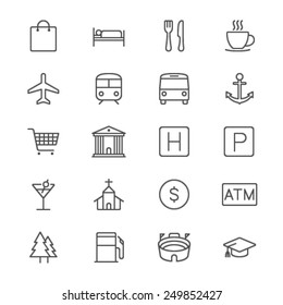 Map and location thin icons