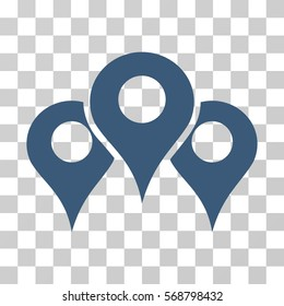 Map Locations icon. Vector illustration style is flat iconic symbol, blue color, transparent background. Designed for web and software interfaces.