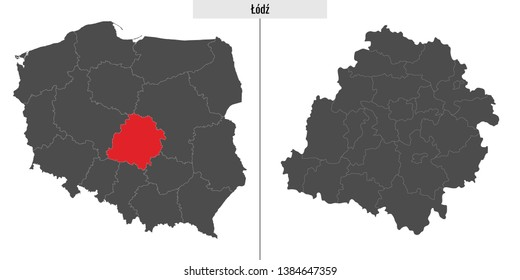 map of Lodz voivodship province of Poland and location on Polish map