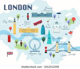 map of london attractions vector and illustration