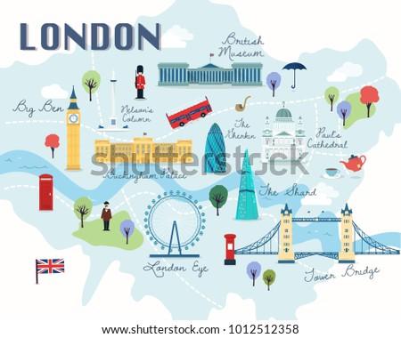 Map London Attractions Vector Illustration Stock Vector Royalty