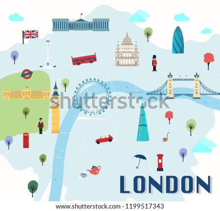 London Map Attractions.Map London Attractions Vector Illustration Stock Vector Royalty