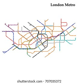 Map of the London metro, Subway, Template of city transportation scheme for underground road. Vector illustration.