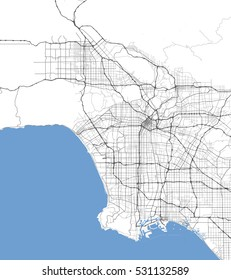 Map Los Angeles city. California Roads