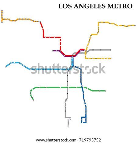 Map Los Angeles Metro Subway Template Stock Vector Royalty Free
