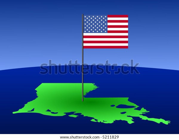 map of Louisiana with American Flag on pole