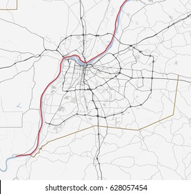 Map Louisville. Kentucky Roads