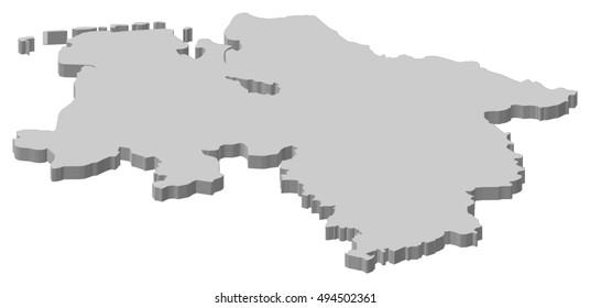 Map - Lower Saxony (Germany) - 3D-Illustration