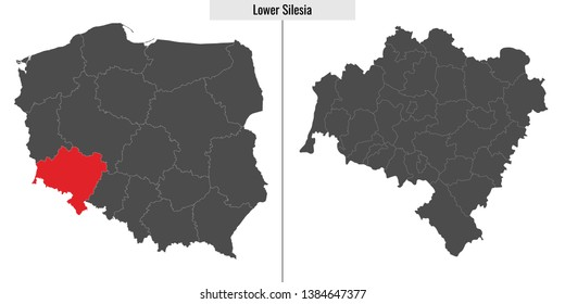 map of Lower Silesia voivodship province of Poland and location on Polish map