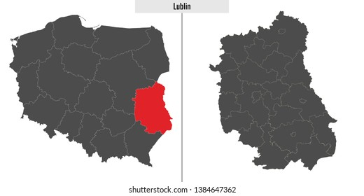 map of Lublin voivodship province of Poland and location on Polish map