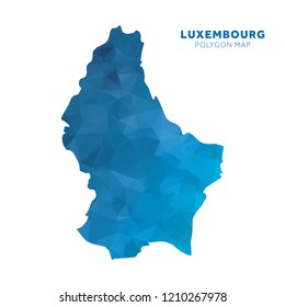 Map of Luxembourg. Blue geometric polygon map.