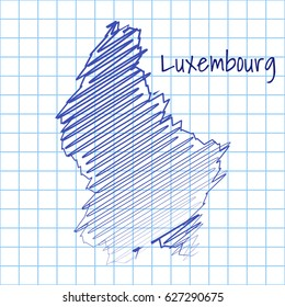 Map of Luxembourg, blue sketch abstract background. The hand drawn map on school grid background texture. scribble pan vector illustration