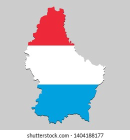 Map of Luxembourg with national flag. Vector Illustration.