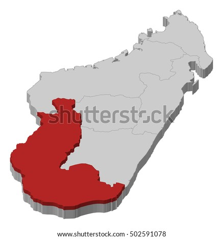 Map Madagascar Toliara 3 D Illustration Stock Vector ...