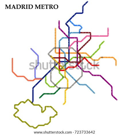 Map Madrid Metro Subway Template City Stock Vector Royalty Free