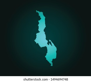 Map of Malawi green vector isolated on dark background. High detailed green vector map, Malawi symbol for your web site design map - Vector illustration eps 10.