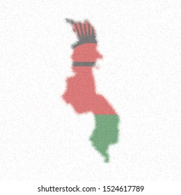 Map of Malawi. Mosaic style map with flag of Malawi. Stunning vector illustration.