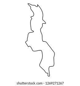 map of Malawi -outline. Silhouette of Malawi map vector illustration