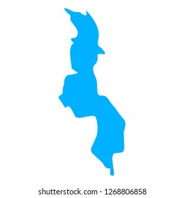 map of Malawi. Silhouette of Malawi map vector illustration