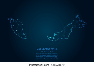 map of malaysia with Abstract mash line and point scales on Dark background . Wire frame 3D mesh polygonal network line, design polygon sphere, dot and structure. Vector illustration eps 10.