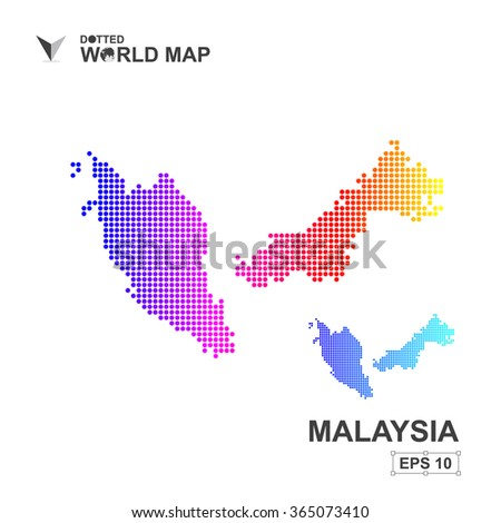 Map Malaysia Dotted Vector Abstract Computer Graphic Stock ...