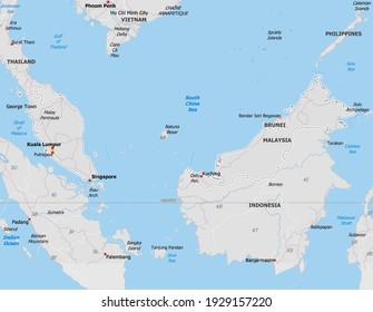 Map of Malaysia. Map is drawn in high detail and for clarity shows only major cities. Country is drawn with neighboring countries.