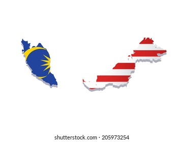 map of malaysia with the image of the national flag