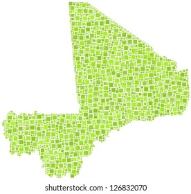 Map of Mali - Africa - in a mosaic of green squares