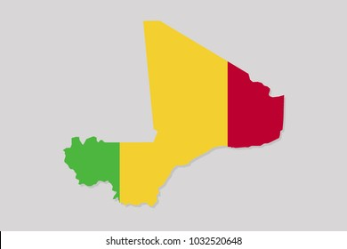 map of mali with flag,vector illustration