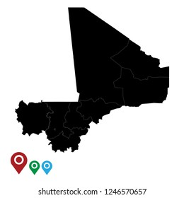 Map of Mali, High Detailed Map of Mali isolated on white background.Vector illustration eps 10