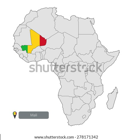 Map Mali Official Flag Location On Stock Vector (Royalty Free ...