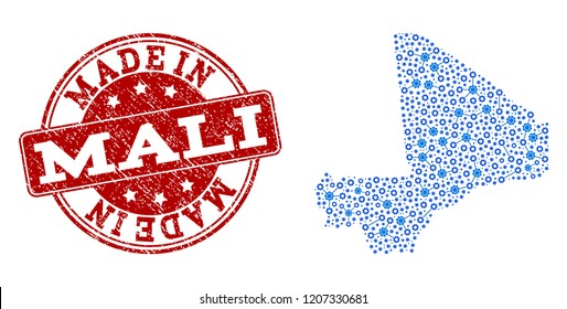 Map of Mali vector mosaic and Made In grunge stamp. Map of Mali designed with blue gear relations. Made in red seal with grunge rubber texture. Vector abstract mosaic of map of Mali with job symbols.