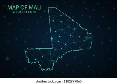 Map Mali. Wire Frame 3D mesh polygonal network line, design sphere,Mali map on dark background. Vector illustration eps 10.