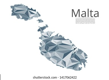 Map of Malta connection. Vector low-poly image of a global map with lights in the form of cities or population density, consisting of points and shapes and space. Easy to edit