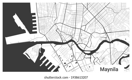 Map of Manila city, Republic, Philippines. Horizontal background map poster black and white land, streets and rivers. 1920 1080 proportions. Royalty free grayscale graphic vector illustration.