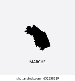 Map of Marche - Italy Vector Illustration
