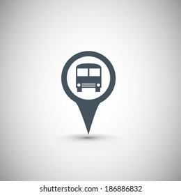 Map marker with Bus icon, vector illustration. Flat design style