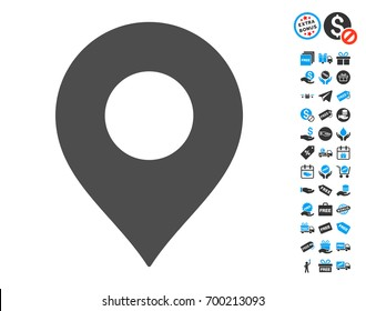 Map Marker grey pictograph with free bonus images. Vector illustration style is flat iconic symbols.