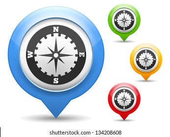 Map marker with icon of a compass, vector eps10 illustration
