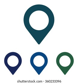 Map marker icon. Geotargeting symbol for maps in different colors. Vector Illustration