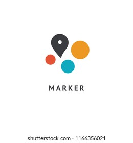Map marker icon. Vector flat style illustration location pin logotype design. Location pin navigation logo template. Logo concept of navigator, guide, , booking hotel, Rent a Car, travel application.
